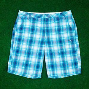 PUMA Golf Blue Plaid Shorts